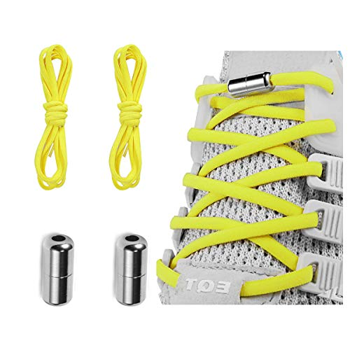 Elastic No Tie Shoe Laces For Adults,Kids,Elderly,One Size Fits All Neon Yellow