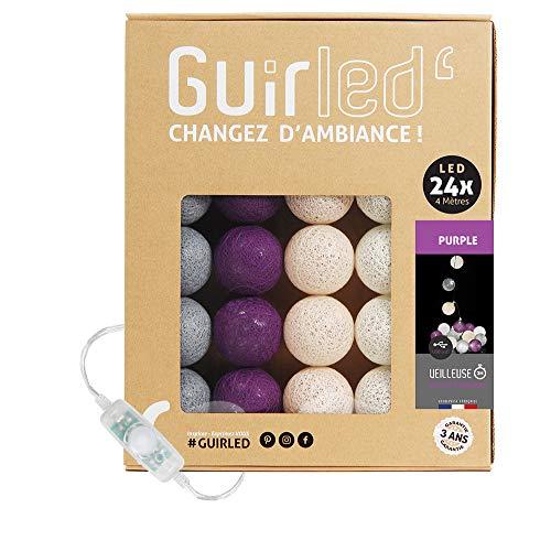 Ghirlanda luminosa Sfere cotone LED USB–Caricatore doppio usb 2a incluso–3intensità–24sfere–Purple