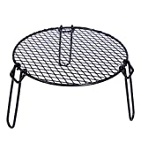 REDCAMP Folding Campfire Grill Heavy Duty Steel Grate, Portable Over Fire Camp Grill for Outdoor Open Flame Cooking, Circle Small