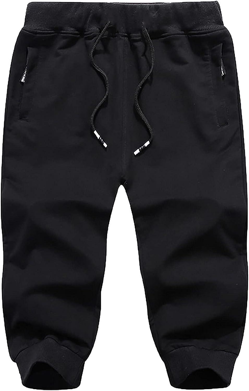 PHSHY Mens Cotton Casual 3/4 Jogger Outdoor Drawstring Capri Pants Summer Running Workout Gym Shorts with Zipper Pockets