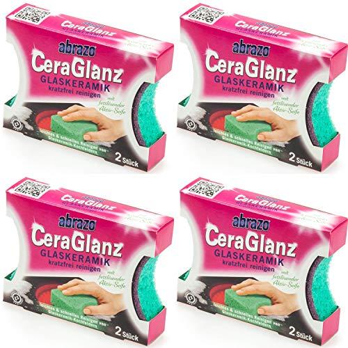 abrazo CeraGlanz Schwamm Glaskeramik kratzfrei reinigen (4 x 2er Pack)