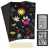 Kratzbilder Kinder, 50 Stück A5 Schwarzes Kratzpapier Verdickung Magic Color Kratzkunst für Erwachsene Jungen Mädchen, mit 5 Bambusstäben 2 Zeichenvorlagen -