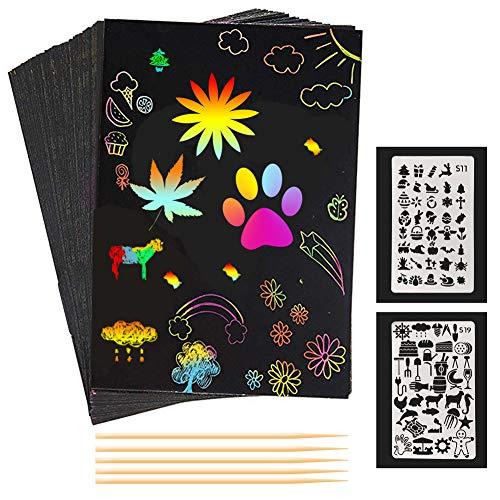 Scratch Art para Niños, 50 Piezas A5 Papel Rayado Negro Espesar Magic Color Scratch Art para Adultos Niños Chicas, con 5 Palitos de Bambú 2 Plantillas de Dibujo