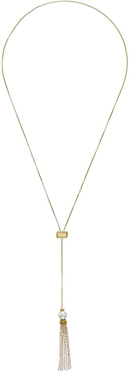 "Gatsby 9 mm Round Pearl on Gold Plated Steel Tassle 31"" Adjustable Necklace"