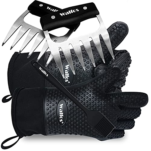Walfos Silicone Grill and Cooking Gloves Plus Pork Shredder Claws Plus Silicone Basting Brush - Heat Resistant and Non-Slip, Safe Cooking and Grilling for Indoor & Outdoor, Superior Value Premium Set