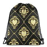 Jhonangel Sagrado Corazón y Cadena Dorada en Mochila Marrón Oscuro con Cordón Bolso de Hombro Ligero para Mujer 36 x 43 cm / 14.2 x 16.9 Pulgadas