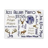 Deer Blanket - Personalized Baby Blanket - Antler Blanket - Monogram Swaddle Blanket - Monogrammed Name (50x60) White