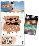 Familienplaner 2021 – GOALS | UK – IN ENGLISH | 5 Spalten | Wandkalender: 23x43cm | Familienkalender mit Sprüchen/Fotos | Extras: 228 Sticker, Jahresübersicht, Vorschau bis März 2022