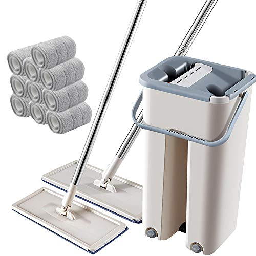 ZZQH Flacher Mopp Mikrofaser Flachmopp Mit Separatem Schmutzwasserbehälter Und 2 Kammern Zum Einfachen Auswringen Reinigung