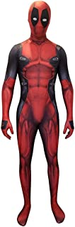 COSPLAY Disfraz del Antihéroe DeadPool Traje ajustado de cuerpo completo con máscara para hombre (L)