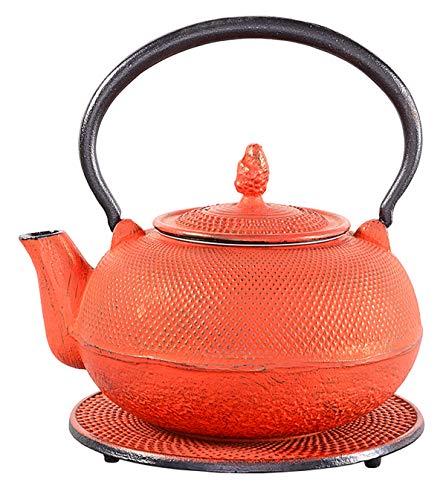 tea4chill Gusseisen Teekanne Arare 1,5l Karminrot mit Edelstahlsieb und Untersetzer