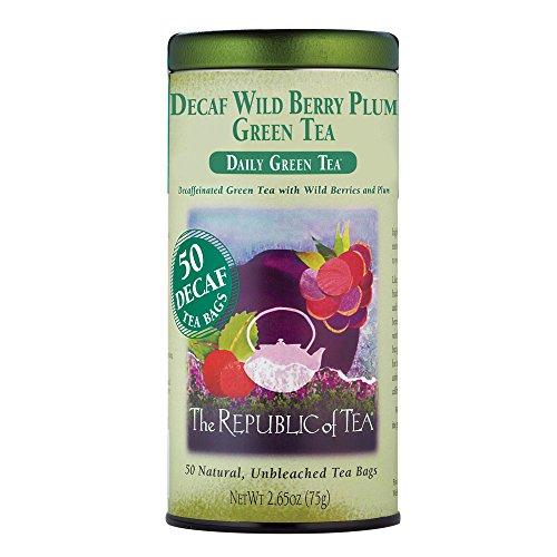 The Republic of Tea Decaf Wild Berry Plum Green Tea, 50 Tea Bags