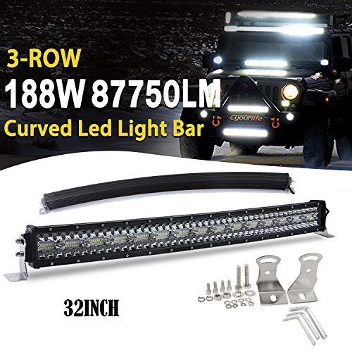 Curved LED bar offroad 32 Zoll led balken 12v 3 Rows Fahrscheinwerfer Flut Spot Combo Strahl Arbeitslicht Nebelscheinwerfer für Auto Auto SUV ATV LKW 4x4, 9631T-C-32