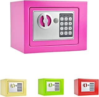 Key&Electronic Digital Lock Security Safe Fireproof Locker Security Wall-Anchoring Mounting Security Cabinet for Business Jewelry Money Gun Valuables Passport(9.05in6.69in6.69in) (Pink)