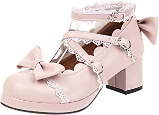 TAOFFEN Women Sweet Bow Lolita Shoes with Lace Mid Block Heels
