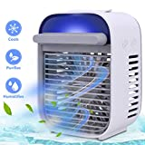Personal Air Conditioner Cooler, Mini Portable Desktop Space Cooler, Quiet USB Fan Air Humidifier Purifier for Home Dorms Office Outdoor,White