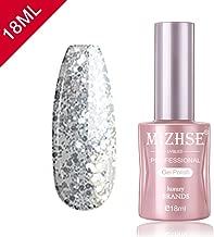 MIZHSE Glitter Silver Gel Nail Polish- 18ml Sock Off UV LED Gel Glitter Nail Gel Bling with Gift Box