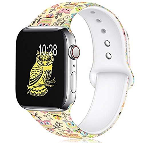TIANQ - Correa de silicona de leopardo para Apple Watch de 38 mm, 40 mm, 42 mm, 44 mm, patrón impreso para iWatch serie 6/5/4/3/2 cebra, búho, 38 mm o 40 mm, talla S