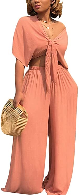 Feditch Women's Sexy Ruched Tie Crop Top Loose Long Pants Set 2 Piece Outfits with Pocket