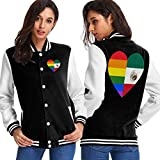 BYYKK Chaquetas Ropa Deportiva Abrigos, LGBT Rainbow Flag of Mexico Heart Women's Long Sleeve Baseball Jacket Baseball Jacket Uniform