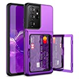 WeLoveCase for Samsung Galaxy S21 Ultra Wallet Case with Credit Card Holder & Hidden Mirror, Defender Protective Shockproof Heavy Duty Phone Cover for Samsung Galaxy S21 Ultra 5G, 6.8 inch Purple