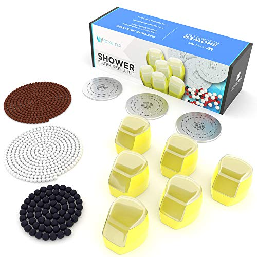 ROYALTEC Vitamin C Shower Filter Refill - 6 Months Value Pack 6 Vitamin C Blocks, Replacement Stones and Shower Head Faces