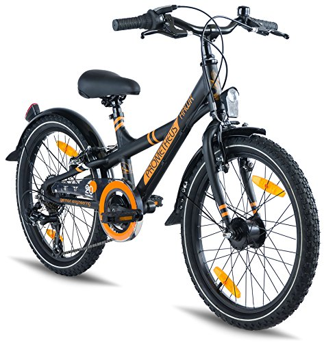Prometheus Bicicleta Infantil - 20 Pulgadas - niño y niña - Bicicleta de aluminio - Negro Mate Naranja - a partir de 7 años - Con sistema de cambios - BMX Edition 2019