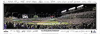 Chicago Cubs 2016 WS Game 3 Wrigley Field Facsimile Signs - 13.5x39 Panoramic Poster Frame Dimensions 15.5x41 Deluxe Brown  Mahogany  Wood Frame with Plexi Glass #2117