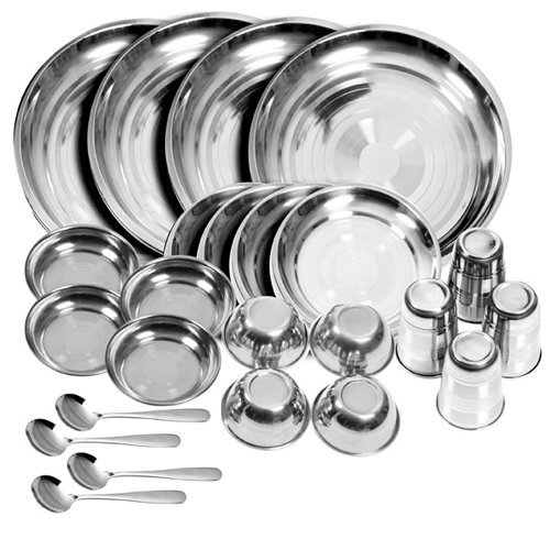 RiddhieR Stainless Steel Dinner Set (Set of 24)(Glass, Curry Bowl, Desert Bowl, Spoon, Quater Plate and Full Plate),Silver