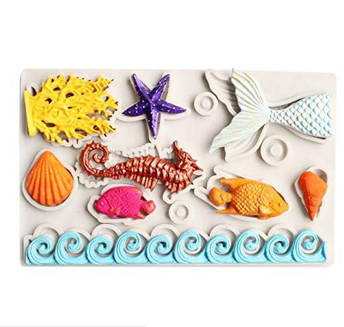 Ialwiyo Silikonform für Fondant, Meerjungfrauenflosse, Seepferdchen, Seepferdchen, Seestern, Seetangen, Fisch, Schokoladenform für Zuckerguss, Kuchendekoration