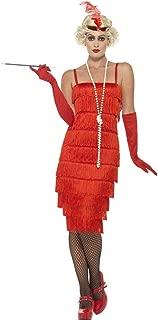3 PC 1920s Flapper Gatsby Girl Red Fringe Dress & Headband w/Gloves Costume