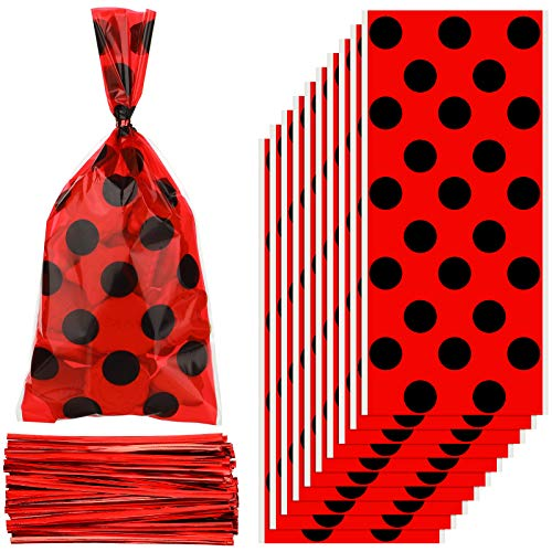 Zonon 100 Pieces Household Tie Silk Bags Ladybug Party Reception Bag Red Candy Bags Party Treat Candy Bags Goodie Bagswith 150 peces Red Twist Ties for Party Favors