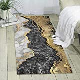 MGVDSES Black White Gold Foil Marble Single-Sided Print Carpet, Ultra Soft Area Rug Non-Slip Rugs, for Bedroom/Living Room/Bathroom/Sofa /Porch/Kitchen, Easy to Clean One Size