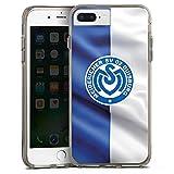 DeinDesign Apple iPhone 8 Plus Bumper Hülle grau transparent Bumper Case Schutzhülle MSV Duisburg Fahne Fussball Bundesliga