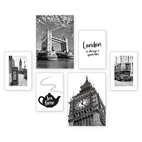 Poster-Set   London   6 Bilder Deko Wohnzimmer Modern Schlafzimmer Bild für Ihre Wand - optional mit Rahmen - 2 x DIN A3 & 4 x DIN A4 - ca. 30x40 & 20x30 (ohne Rahmen)