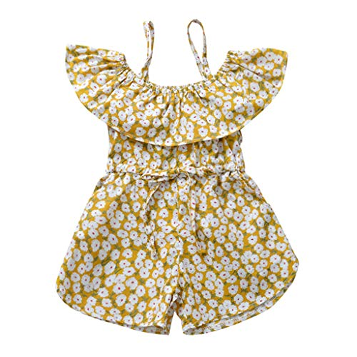 Baby Girls Off Shoulder Romper,Infant Kids Girls Floral Print Flounce Jumpsuit One Piece Playsuit Summer Shorts Outfits Yellow