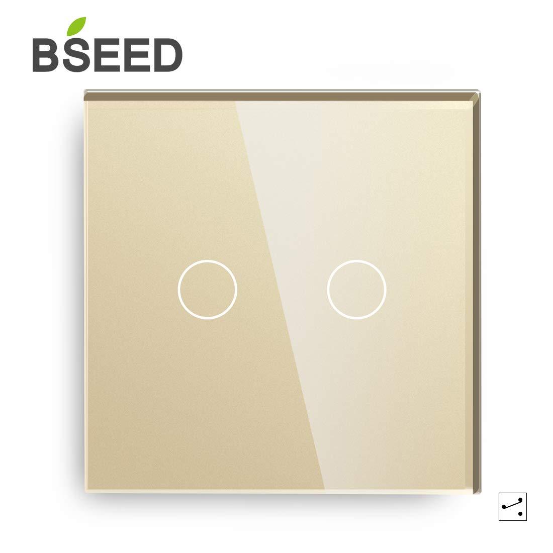 BSEED interruptor luz pared 2 Gang 2 Way interruptor tactil pared Oro interruptores de luz pared con pantalla táctil de vidrio: Amazon.es: Bricolaje y herramientas