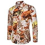 Camisa de Manga Larga con Estampado Entallado para Hombre Trend Color Block Ropa de Calle Camisas de Cuello Vuelto abotonadas de Gran tamaño XL