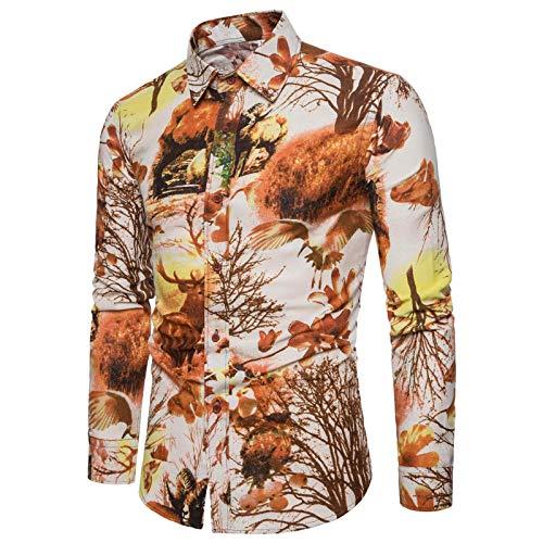 Katenyl Camisa Ajustada para Hombre Tops Ajustados a la Moda con Personalidad Impresa Streetwear Casual Sexy cómodas Camisas básicas 3XL