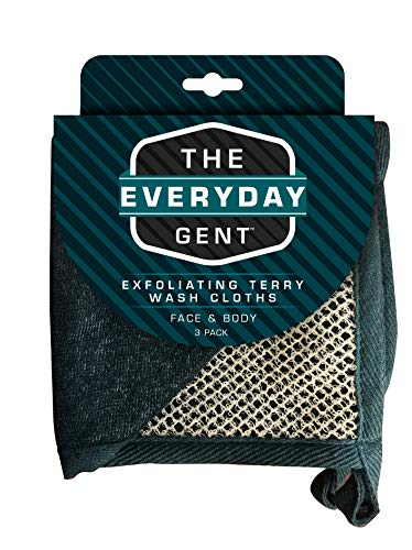 Evriholder Everyday Gent Exfoliating Face and Body Terry Wash Cloths, Gray, 3.2 Oz