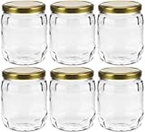 Mikken – Juego de 6 tarros de cristal de 1 litro con tapón de rosca, incluye etiquetas de identificación