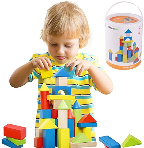 Pidoko Kids Deluxe Handcrafted Wooden Building Blocks Set - 50 Pieces