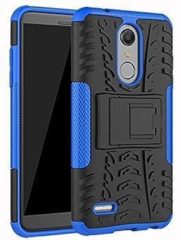 LG K30 Case LG Phoenix Plus Case,LG Premier Pro LTE Case,LG K10 Alpha,LG K10 2018 Case Yiakeng Dual Layer Shockproof Wallet Slim Protective with Kickstand Hard Phone Cover  Blue