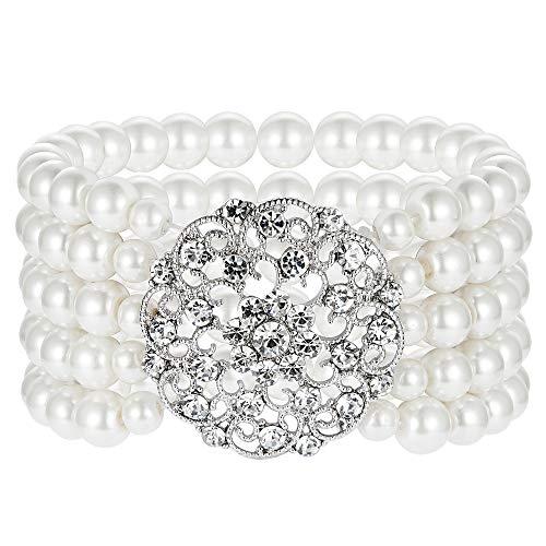 ArtiDeco 1920s Armband Perlen Damen Gatsby Kostüm Zubehör Blinkende Kristall Armreif 20er Jahre Accessoires für Damen (Stil 2-Silber)