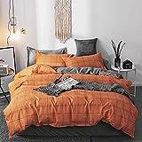 Damier Ropa de cama a cuadros, 200 x 220, gris y naranja, juego de cama de 3 piezas, reversible, microfibra moderna, geométrica, juego de funda de edredón con 2 fundas de almohada de 80 x 80 cm