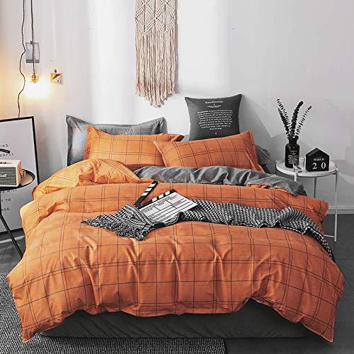Damier Juego de ropa de cama de 200 x 200 cm, diseño de cuadros, color amarillo, naranja y gris