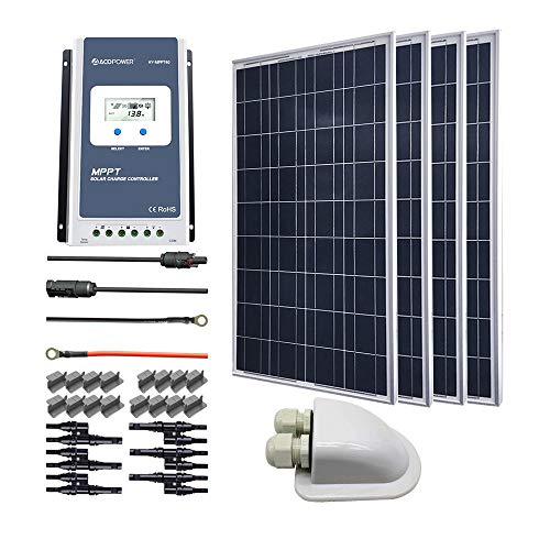 ACOPOWER 400 Watts 12/24 Volts Polycrystalline Panel Solar RV Kits with 40A MPPT LCD Charge Controller/Mounting Brackets/Y Connectors/Solar Cables/Cable Entry housing