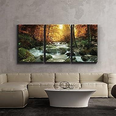 wall26 - Forest Waterfall Scene - Canvas Art Wall Decor - 24  x 36  x3 Panels