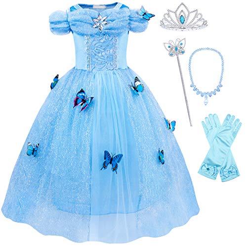Jurebecia menina princesa vestido Cinderela vestido Cinderela azul borboleta vestido Cinderela vestido Cinderela vestido,P091-130