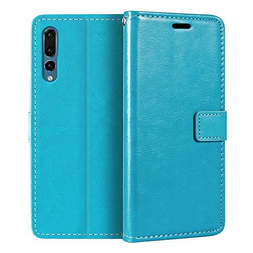 Capa carteira para Huawei P20 Pro, capa flip magnética de couro sintético premium com suporte para cartão e suporte para Huawei P20 Plus